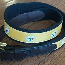 Vineyard Vines Mens Club Belt Yellow Black Pittsburgh Steelers Brown Leather 30 Photo