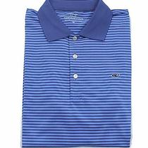 Vineyard Vines Mens Crown Harbor Cay Blue Stripe Golf Polo Shirt Xxl New Photo