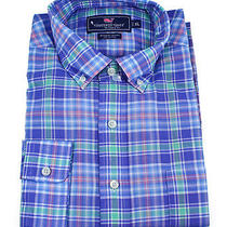 Vineyard Vines Mens Murray Shirt Shell Island Plaid Indigo Button Down Xs New Photo
