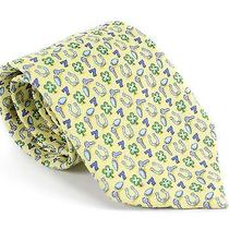 Vineyard Vines Mens My Lucky Tie Yellow Colorful Silk Clover  Necktie New Photo
