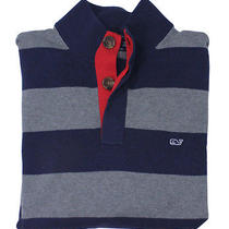 Vineyard Vines Mens Nautical Navy Button Through Striped Sweater M New Photo