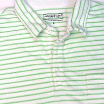 Vineyard Vines Mens Polo Striped White Green Shirt Size Large Photo