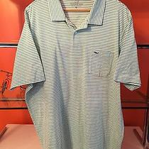 Vineyard Vines Mens Whale Polo Golf Shirt Mint Green Striped Blue Logo Xl Photo