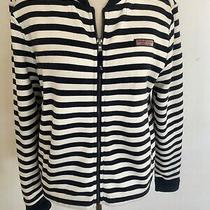 Vineyard Vines Navy White Stripe Cotton Blend Full Zip Sweater Sz Xs Photo
