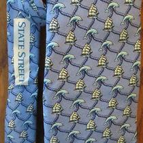 Vineyard Vines Necktie Silk Tie Blue Dolphin Sailboat Design State Street Photo