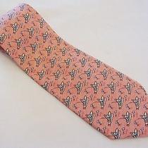 Vineyard Vines Necktie Tie Dolphins Fishing Boat Pink Yacht 100% Silk 59 X 3.75 Photo