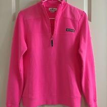 Vineyard Vines Neon Pink Women's Small 100% Cotton Shep Shirt Collar Zip Top Photo
