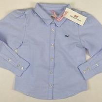 Vineyard Vines New Oxford Shirt Girl Size 4 4t Ocean Breeze Lbfo Photo