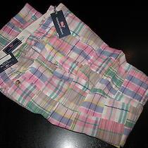 Vineyard Vines New Patchwork Madras Plaid Slim Breaker Pants 34 Waist 34x32 Photo