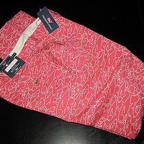 Vineyard Vines Pants New Tuna Outline Jetty Red Slim Fit Breaker 34 Waist 34x32 Photo