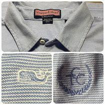 Vineyard Vines Polo Shirt Medium Blue White Stripe Golf Club of Cape Cod Logo Photo