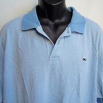 Vineyard Vines Polo Shirt Mens 2xl Xxl Blue White Striped Short Sleeve Whale Euc Photo