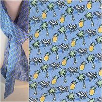Vineyard Vines Silk Scarf or Belt Beach Chairs Palm Trees Pineapple on Blue Euc Photo