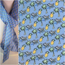 Vineyard Vines Silk Scarf or Belt Beach Chairs Palm Trees Pineapple on Blue Photo