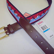 Vineyard Vines Ski Mountain Pattern Club Belt Nwt 36 49.50 Made in Usa Photo