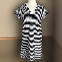 Vineyard Vines Small Knit Tee Dress Stripe v Neck Deep Bay Nautical Navy White Photo
