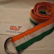 Vineyard Vines Stripe Ribbon D-Ring Belt Ireland Irish Orange Green S Small New  Photo