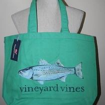 Vineyard Vines Striped Bass Graphic Tote Bag New Green & Blue 5a0541 Nwt Fish Photo