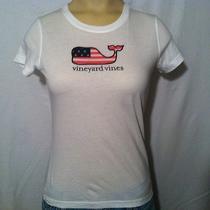 Vineyard Vines Whale American Flag T-Shirt Youth Girl's Size M Medium (10-12)  Photo