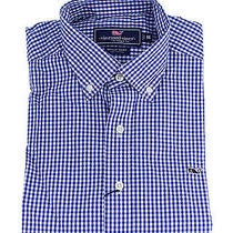 Vineyard Vines Whale Shirt Classic Gingham Royal Ocean Blue Button Down S New Photo