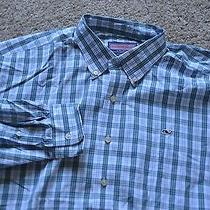 Vineyard Vines Whale Shirt Preppy Extra Large Xl Green White Plaid Blue Photo