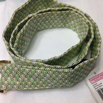 Vineyard Vines Women's Green Shell Print Casual Silk D-Ring Belt Size Medium Photo