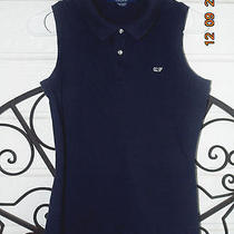 Vineyard Vines Women's Navy  Knit Sleeveless Polo/golf Shirt - Medium Photo