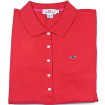 Vineyard Vines Womens Patriot Red Shoreline Polo Short Sleeve Shirt Xs New Photo