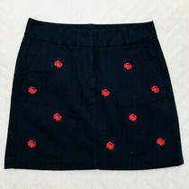Vineyard Vines Womens Size 2 Navy Blue Crab Embroidery Mini Skirt Cotton Photo
