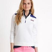 Vineyard Vines Womens White Cap Neon Triple Whale Line Shep Shirt Xl New Photo