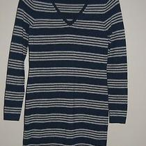 Vineyard Vines Wool Blend Navy Gray Striped Sweater Dress / Women's Size Xs Photo