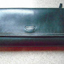 Vint. Coach Black Leather W/white Stitching Trifold Checkbook Wallet Photo