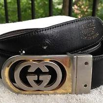 Vint. Gucci Interlocking Gg Gold-Tone Buckle Brwn & Blk Reversible Belt 75-30 Photo