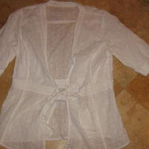 vint.inc Beautiful Wht Eyelet Lace Soft Cotton Tie Front Cardigan Top Shirt S/m Photo