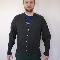 Vintage 100% Lambs Wool Charcoal Heather Grey Grandpa Cardigan Sweater M-L Mens Photo