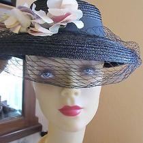 Vintage 1930s Depression Era- Black- Brimmed -Church- Day Hat W/ Sweet Peas Photo