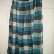 Vintage 1940s 1950s Wool Blend Skirt Aqua Black White Plaid 24 X 27 Photo
