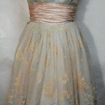 Vintage 1950's Blush Blue Flocked Flowers Chiffon Prom Rockabilly Dress Size Sm Photo