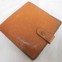Vintage 1950's Men's Tan Leather & H/m Sterling Silver Wallet Photo