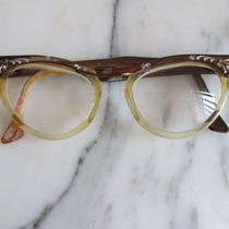 Vintage 1950's Rockabilly Cat Eye Ladies Rhinestone Eye Glasses by Hudson--5 1/4 Photo