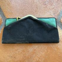 Vintage 1950s Authentic Gucci Wallet Coin Purse Clutch Green Leather Black Suede Photo