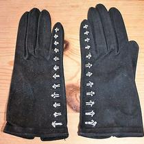 Vintage 1950s Christian Dior Crystal Embroidered Kid Suede Gloves Dents Size 6.5 Photo