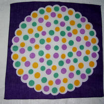 Vintage 1950s Fun Polka Dot Hanky Purple Aqua Lavenders Fun Design Excellent New Photo