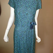 Vintage 1950s Jule-Wyn New York Dress Lace Formal Wedding Aqua Blue Photo