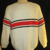 Vintage 1960's 1970's White Red Black Ski Sweater by Simonis Haute Couture Large Photo