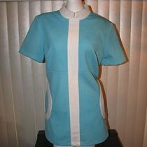 Vintage 1960's Aqua Blue White Mod Plus Size Mini Dress Made in Japan Stewardess Photo