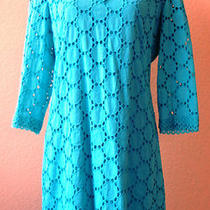 Vintage 1960's Aqua Eyelet Mod Dress Fully Lined Peekaboo Bell Sleeve Lace Small Photo