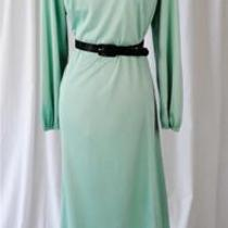 Vintage 1960's Lady Mendel Knits of Distinction Aqua Embroidered Poly Dres Photo