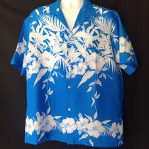 Vintage 1960's Royal Hawaiian Men's Turquoise & White Hibiscus Size Xl.  Euc Photo
