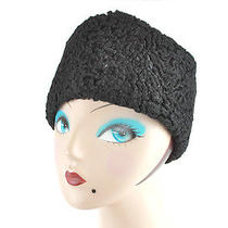 Vintage 1960s Black Faux Persian Lamb Fur Hat Worth and Worth Hotel Astor Ny  Photo